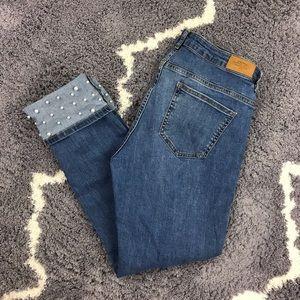 Zara Basic RARE Skinny Pearl Cuff Accent Jeans